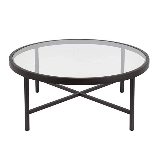 Amazon Com Coffee Table 36 Inch Durable Clear Glass Round Sturdy New Kitchen Dining Coffee Table Round Coffee Table Bronze Coffee Table