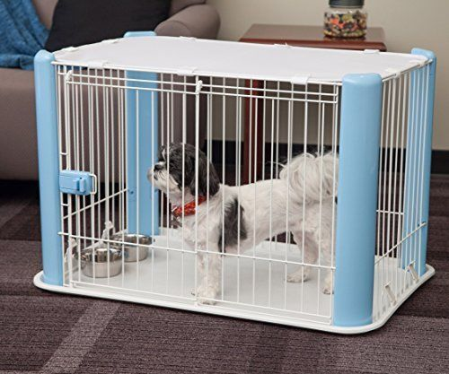 Dog Crate Kennel Small Wire Mesh Roof Blue Cage Pet Door House Cat Playpen Puppy #IRISUSAInc