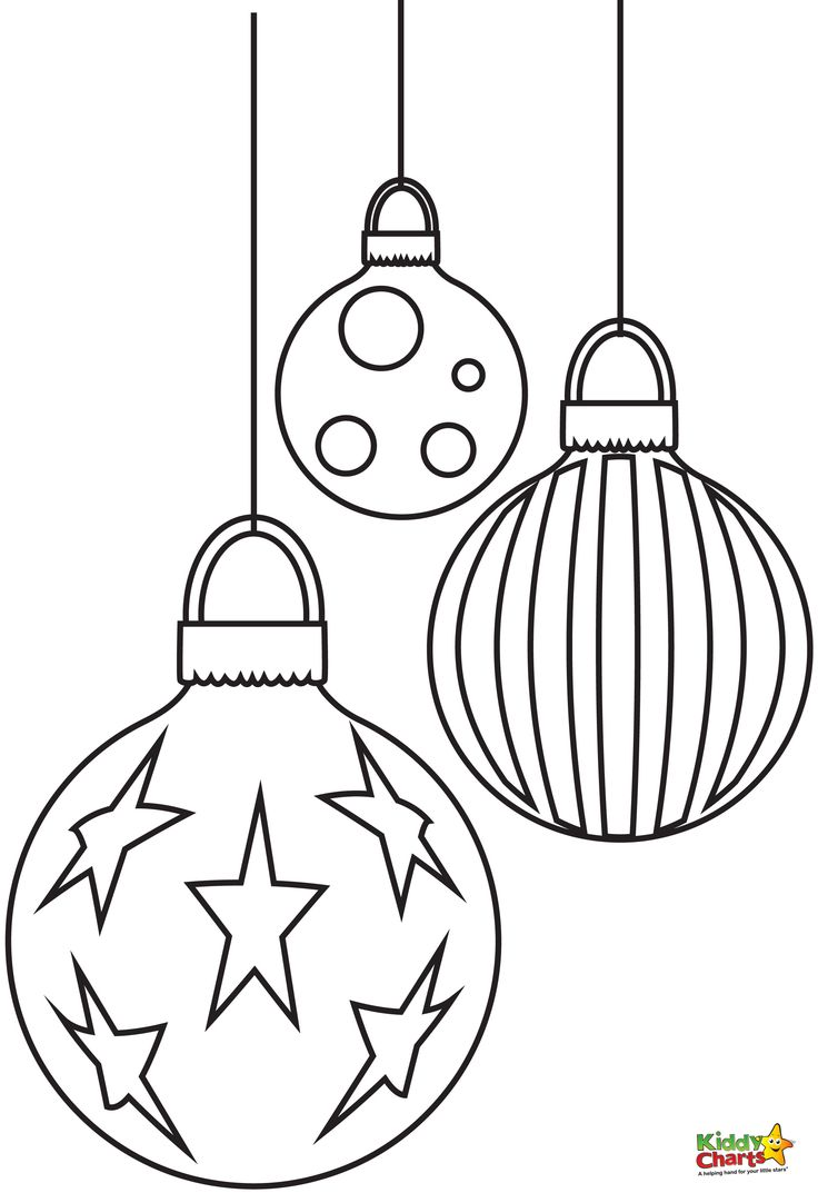 Coloring pages xmas decorations - Baubles Free Christmas Coloring Pages From