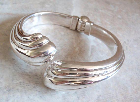 Sterling Silver Clamper Bracelet Puffy Swirls 6 7 Inch Vintage #sterlingsilver #hinged #clamper #bracelet #vintage