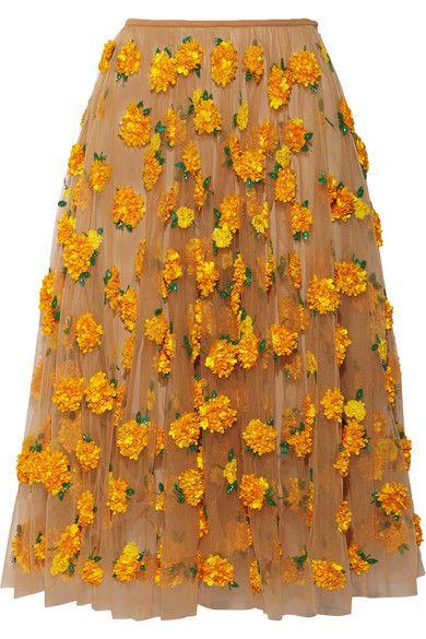 Michael Kors SS15 embellished tulle midi skirt marigold