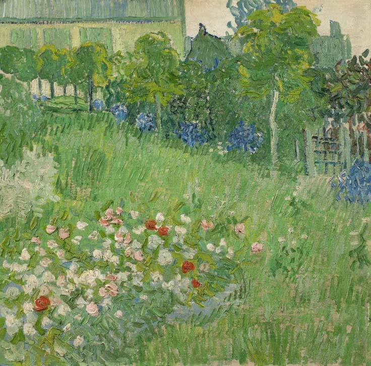 Today is Charles-François #Daubigny's birthday! He was born in 1817. Vincent van Gogh admired this French landscape painter throughout his life. He depicted Daubigny's enclosed garden three times. Image: Vincent van Gogh, Daubigny's garden, 1890, Van Gogh Museum, Amsterdam (Vincent van Gogh Stichting)
