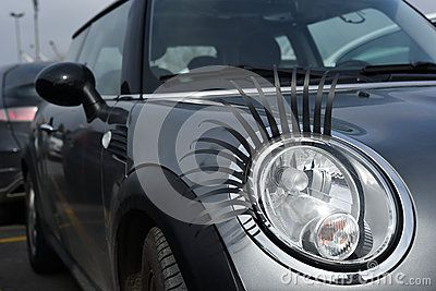 Modified Headlights of A Mini with Fake Eyelashes