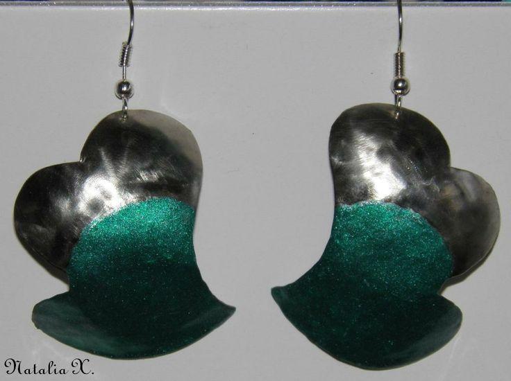 Σκουλαρίκια καρδιές από αλπακά με σμάλτο by Natalia
