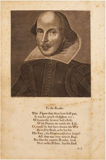 Shakespeare's Portrait from the Fourth Folio, including Ben Jonson's poem 'To the Reader' 1685