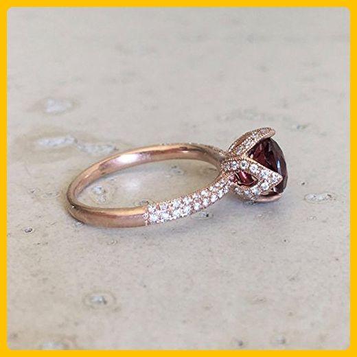 Lotus Flower Garnet Engagement Ring- Rose Gold Garnet Promise Ring- Diamond Garnet Bridal Ring- Rose Gold Garnet Wedding Ring - Wedding and engagement rings (*Amazon Partner-Link)