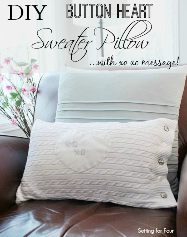 DIY button heart sweater pillow with xoxo message!