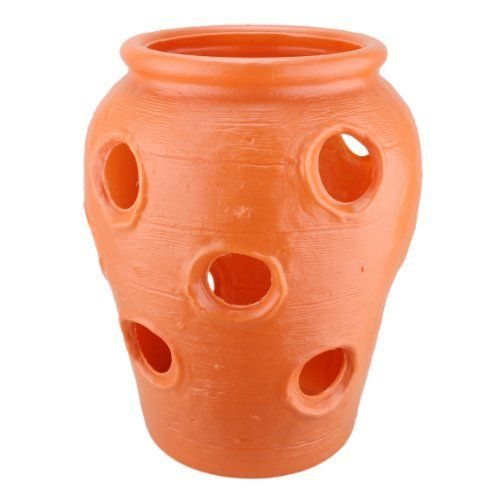 Large Strawberry Jar: Terra Cotta Color Plastic Planter - Made in the USA! by Union Products. $17.89. Color: Terra Cotta. Made in the U.S.A.!. Twelve 2 inch holes with 7 inch opening on top. Plastic Blow-Mold Large Strawberry Pot. Size: 14.25 inches tall x 11.5 inches in diameter. Large Terra Cotta Color Plastic Strawberry Jar. This classic Union Products blow-mold plastic garden planter is proudly made in the United States. Jar stands about 14.25 inches tall a...