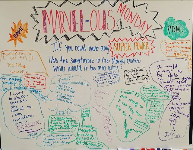 MARVEL-ous Monday question: If you could have any SUPER POWER like the superheroes in the Marvel comics, what would it be and why? #MARVELousmonday #zelenakthird #whiteboard #miss5thswhiteboard #teachersofinstagram #teacher
