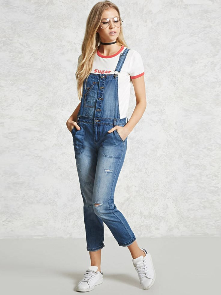 FOREVER 21 #Blue Washed #Cropped #Denim #Dungarees #women #fashion #style