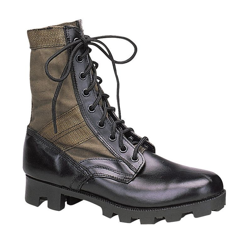 GI Style Military Jungle Boot - Canvas & Nylon W/ Leather Toe & Heel