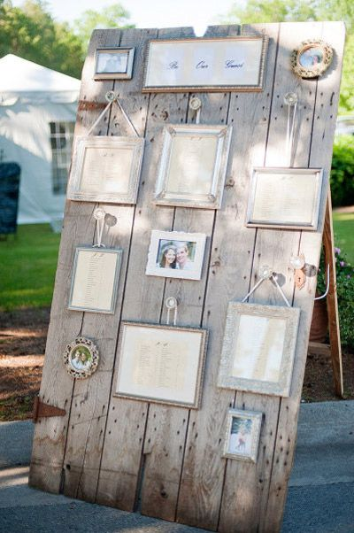 Interesting rustic way to display seating... Could mix in group pictures or family wedding photos in gold frames