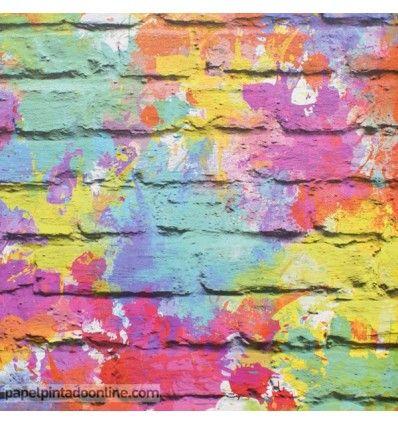 Papel Pintado ladrillo graffiti colores Freestyle de Ugepa en papelpintadoonline.com - venta online de papeles pintados de pared de las mejores marcas