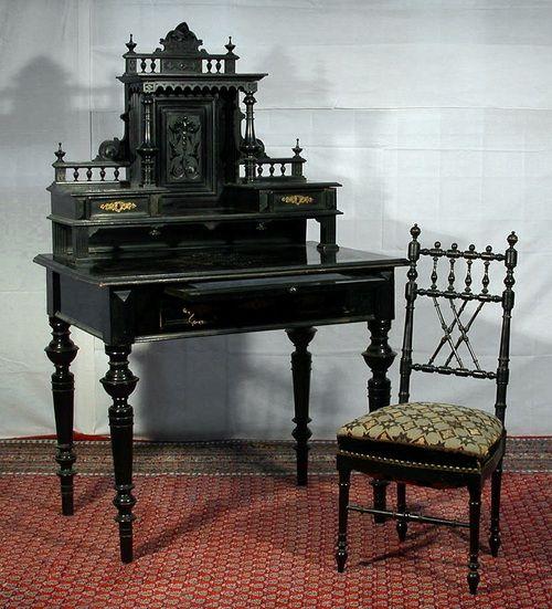 Ebonized late Victorian writing desk.