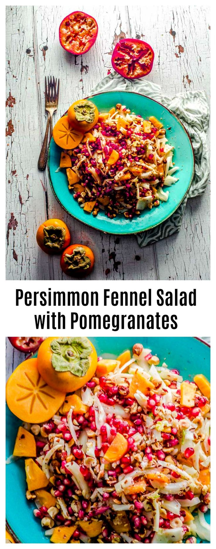 Meet our new favorite salad! Persimmon Fennel Salad with Pomegranate and Hazelnuts. A guaranteed crowd pleaser with a wonderful balance of sweet and savory.