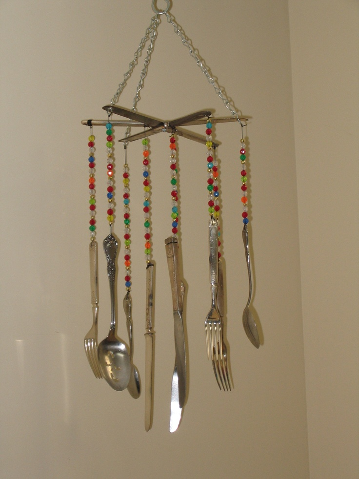Upcycled silverware wind chime project upcycle for Wind chimes from recycled materials