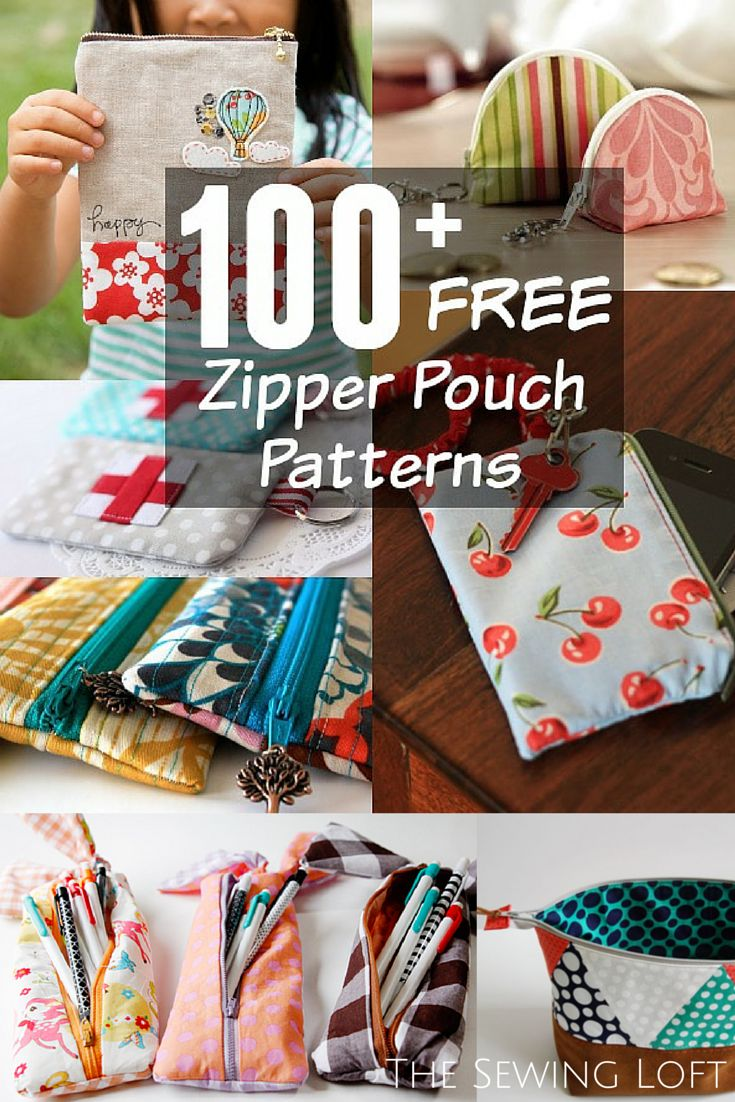 100 + FREE zipper pouch patterns.