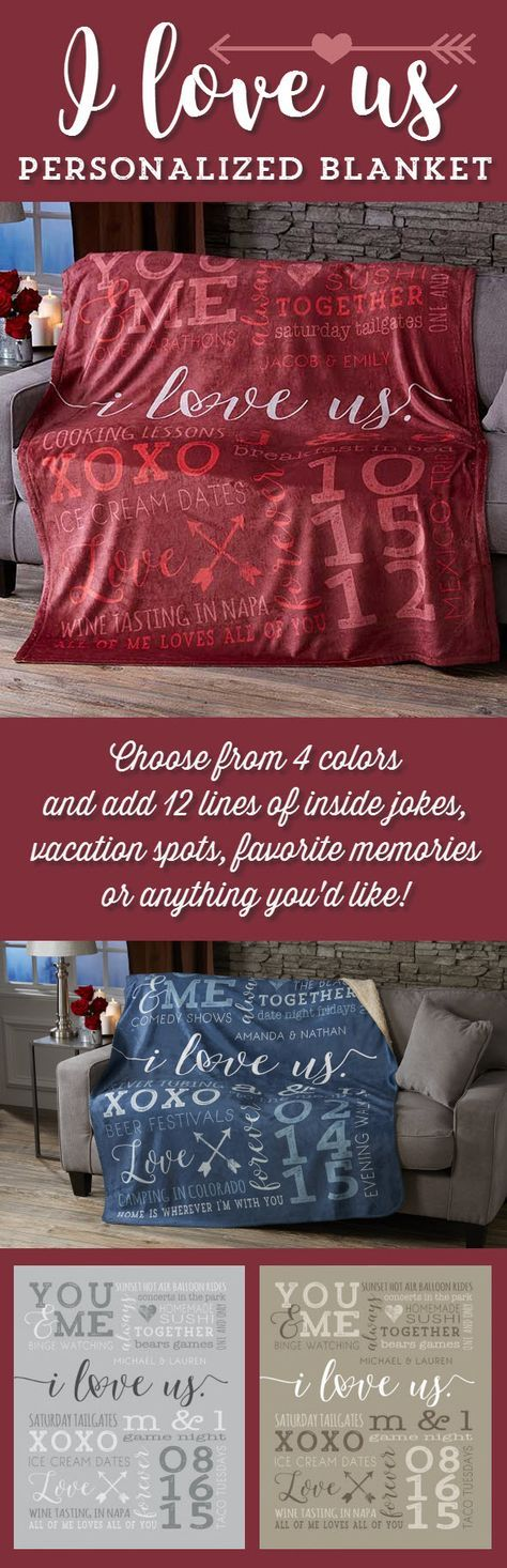 "LOVE this ""I Love Us"" Personalized Blanket! You can choose from 4 colors and add any 2 names, special date and 12 lines of personalization - you can add inside jokes, romantic memories, concerts, vacation spots or anything you want! It's the perfect anniversary gift idea!"