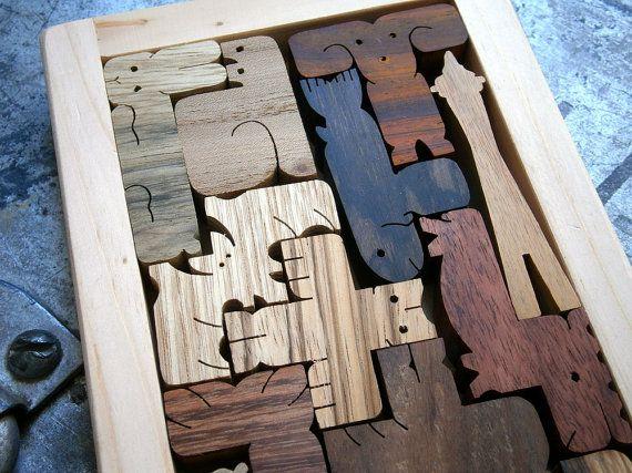 Northwest Edition pentomino Space Needle wood puzzle on Etsy, $75.00