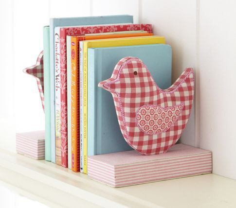 PBK fabric bird bookend set. Inspiration for a DIY.