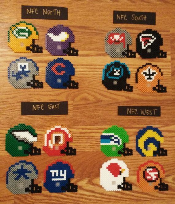 NFL Football Helmet Perler Bead Ornaments by NeonSkiesDesigns