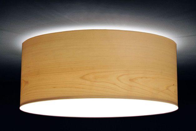 Deckenlampen - Deckenleuchte D.40 cm, H.15 cm, Furnier Birke - ein Designerstück von Leuchtenmanufaktur-Brodauf bei DaWanda