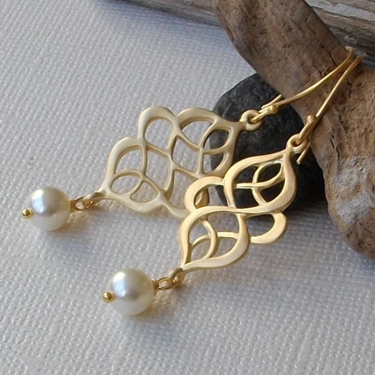 Pearl Gold Twist Drop Earrings. $24.00, via Etsy.