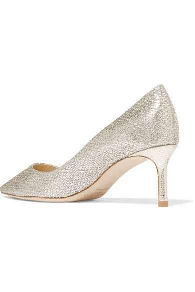 Jimmy Choo - Romy Glittered Leather Pumps - Silver