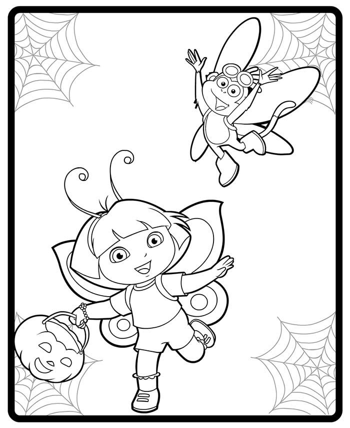 Image Dora And Boot Halloween Costumes Coloring Page Jpg Dora