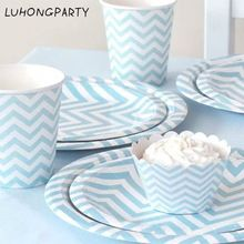 Free Shipping 48pcs blue yellow Disposable Tableware Party Paper Plates Cups Baby Shower Favor LUHONGPARTY //Price: $US $23.13 & FREE Shipping //     #festive #party #birthdayparty #christmas #wedding decoration #event