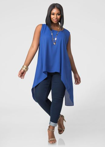 Split Back Hi-Lo Blouse