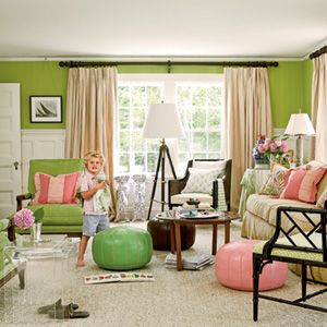 Pink and green: Coastal Rooms, Green Living Rooms, Idea, Green Wall, Wall Color, Coastal Living, Pink, Families Rooms, Green Rooms