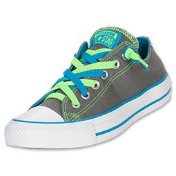 Women's Converse Chuck Taylor Kriss N Kross Casual Shoes in Grey/ Neon Green/ Blue  *They'll make you jump, jump.*