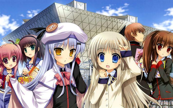 Descargar fondos de pantalla Angel Beats, personajes de anime, Yuri Nakamura, Seifuku Yui, Little Busters, Kyousuke Natsume, Rin Natsume, Kudryavka Noumi