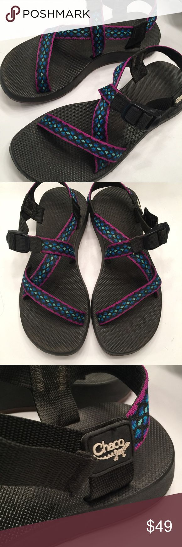 Chaco Classics size 8 purple and blue. Good used condition. Only minimal wear to the bottoms. No appreciable flaws. Chaco Shoes Sandals