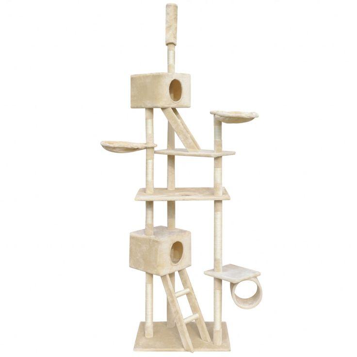 Cat Tree Scratching Post Beige Kitten Pet Scratcher Bed Activity Tower Climb