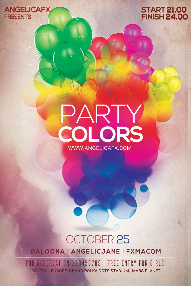 party colors psd flyer  poster template party colors psd