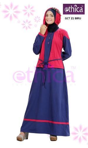 Baju Gamis Bahan Combeds Ethica GCT 21 Biru