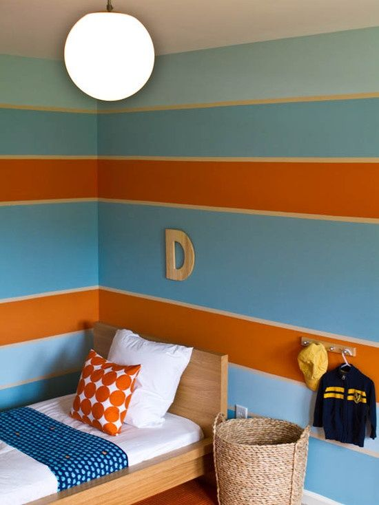 Orange Stripes The Three Paint Colors Used Were Sherwin Williams Ebbtide Jetstream And Marquis 6650