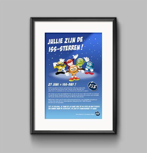 Ontwerp van mascottes (en poster) voor ISS-Day in opdracht van ISS nv door Benseys.com bvba