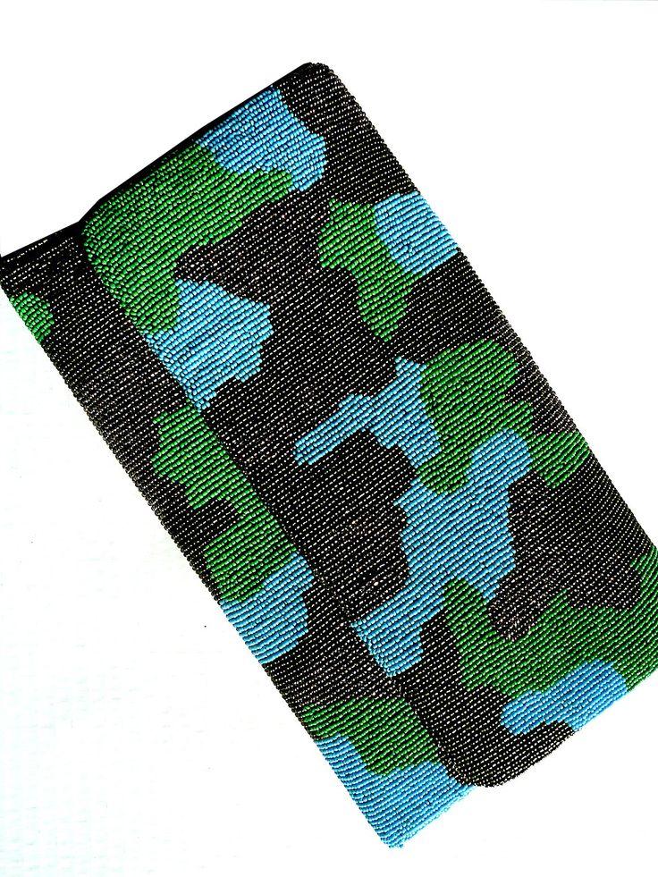 Beaded Large Envelope Bag Camouflage Turquoise