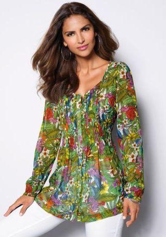 Halenka s dlouhými rukávy #ModinoCZ #fashion #flowers #tunic #colours #longsleeves #móda #tunika #květiny #potisk