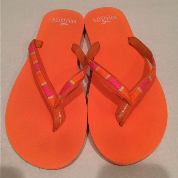 Woman's Hollister Neon Orange Flip Flops Az 10 Solid Neon Orange,Rubber soles,With Neon Pink and Orange on the Straps,Size 10,Great condition,Light Wear,Closet Kept in a Smoke free Pet free Home,Happy Bidding and Have a Great day Hollister Shoes
