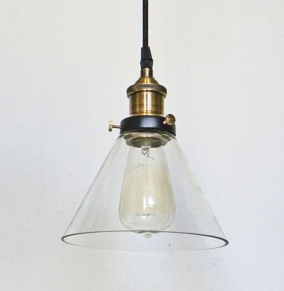 Glass Pendant Light Edison Antique Lamp Kitchen Island Ceiling Fixture Rustic Lighting Brass