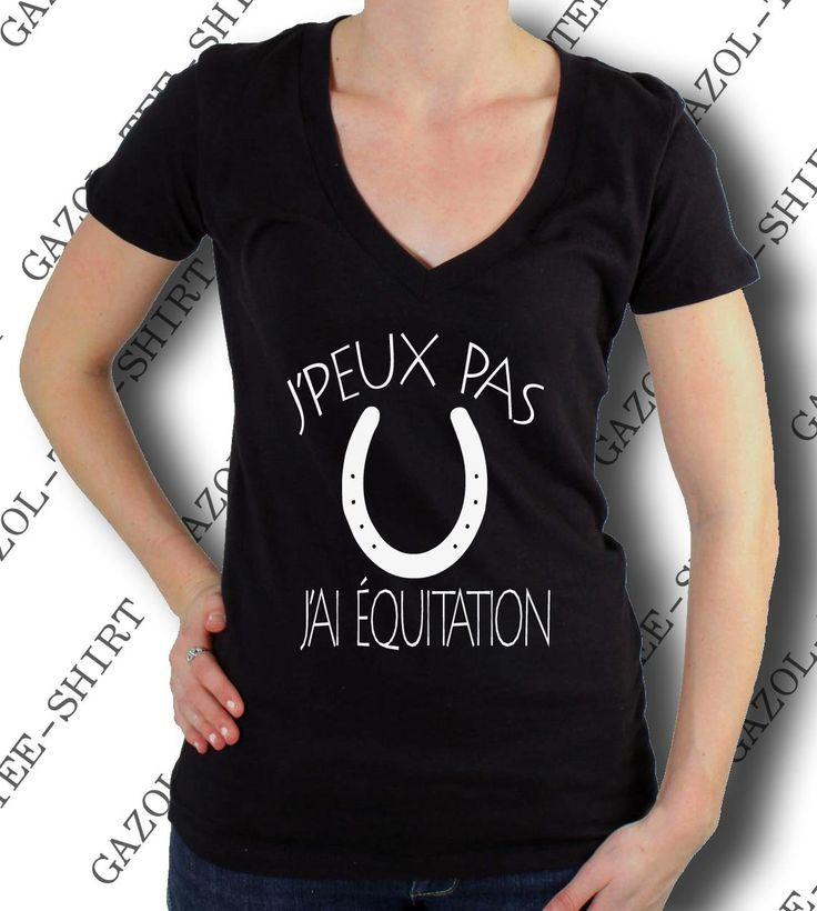"Tee-shirt femme ""J' peux pas, j'ai équitation."" : T-Shirt, debardeurs par gazol-tee-shirt"