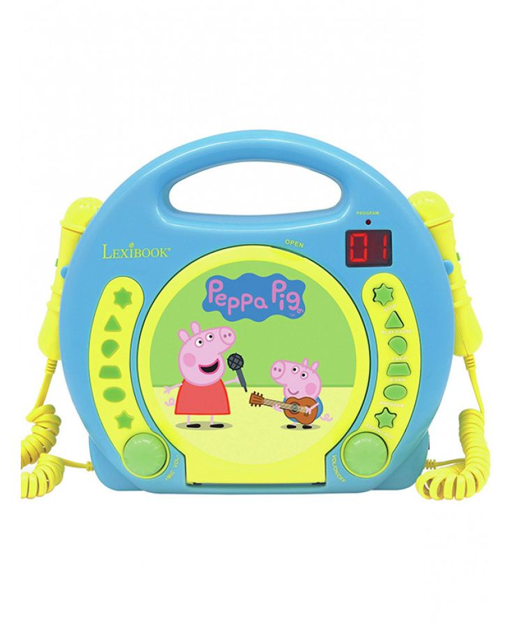 This fun Peppa Pig CD Player with Microphones features a front load CD player, LED display and repeat button. Free UK delivery available