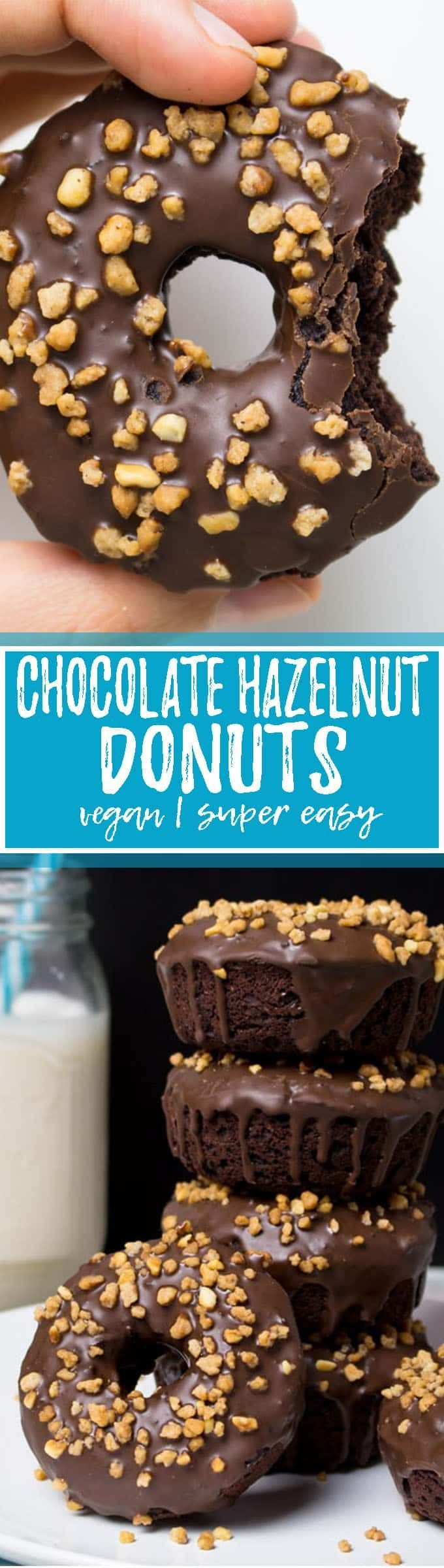 "These vegan chocolate hazelnut donuts are one of my all-time favorite vegan baking recipes! They taste just like ""Nutella"" donuts. SO good! Vegan donuts at their best! They make such a great vegan dessert. Big YUM!! <3 