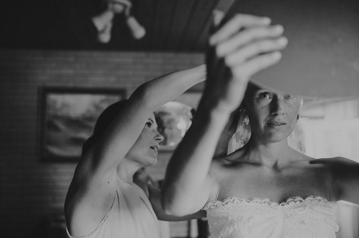 Bride getting ready before wedding ceremony.