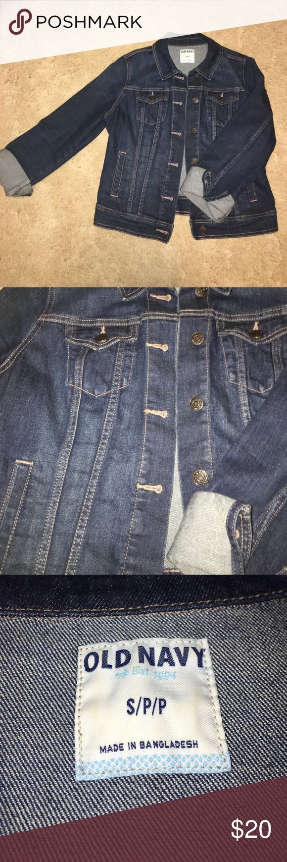 Old Navy Jean Jacket Old Navy Jean Jacket. In like-new condition! Only worn a few times and has been cleaned. Great dark blue denim and is a cropped fit. Perfect all year round! Old Navy Jackets & Coats Jean Jackets