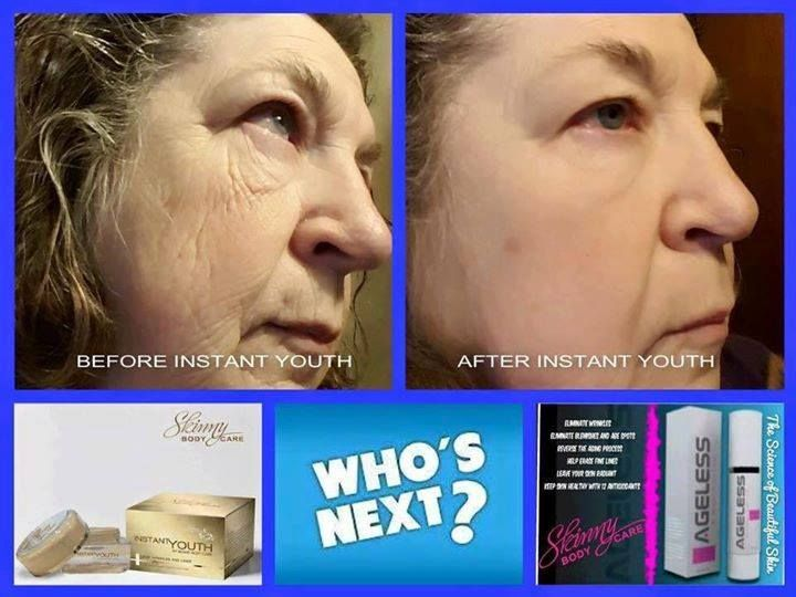 Isn't this an awesome result? 2 minutes and lasts for hours with no cakey crusty feeling or residue! Apply alone or under or over makeup. http://harmonysbalance.instantyouth.com/   Elaine's Mother   She says: I love what Instant Youth did for my mom! Doesn't she look great?    All of our products come with a empty bottle money back guarantee. 30 or 90 day depending on the package.